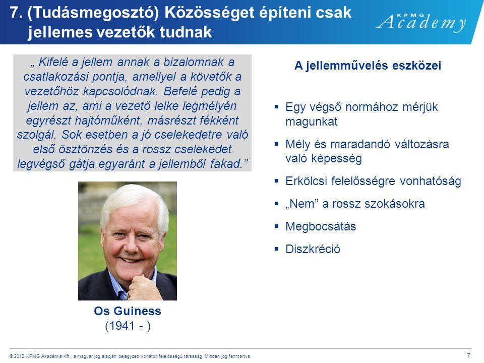 © 2012 KPMG Akadémia Kft., a magyar jog alapján bejegyzett korlátolt felelősségű társaság. Minden jog fenntartva. 7 7. (Tudásmegosztó) Közösséget épít