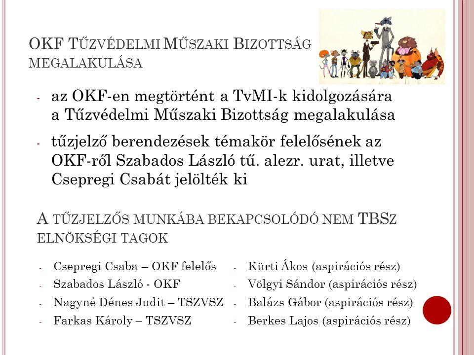OKF T ŰZVÉDELMI M ŰSZAKI B IZOTTSÁG MEGALAKULÁSA - az OKF-en megtörtént a TvMI-k kidolgozására a Tűzvédelmi Műszaki Bizottság megalakulása - tűzjelző