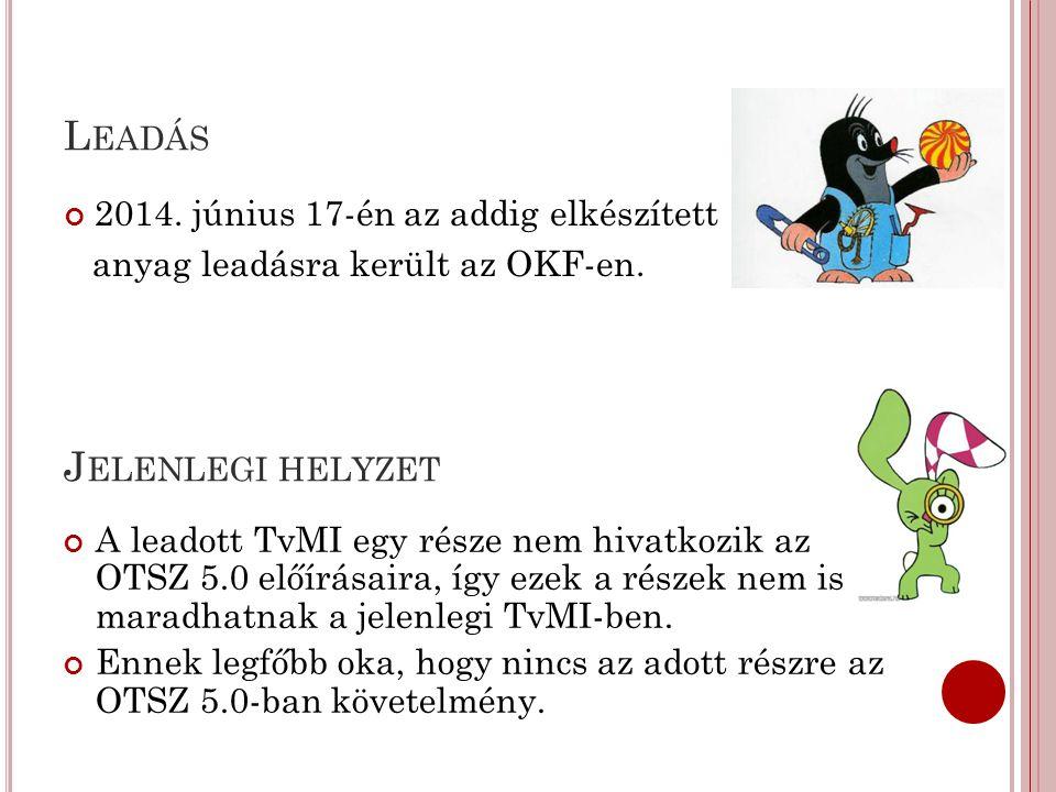 L EADÁS 2014. június 17-én az addig elkészített anyag leadásra került az OKF-en. J ELENLEGI HELYZET A leadott TvMI egy része nem hivatkozik az OTSZ 5.