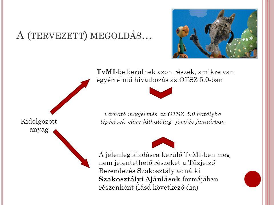 A ( TERVEZETT ) MEGOLDÁS … Kidolgozott anyag TvMI -be kerülnek azon részek, amikre van egyértelmű hivatkozás az OTSZ 5.0-ban A jelenleg kiadásra kerül