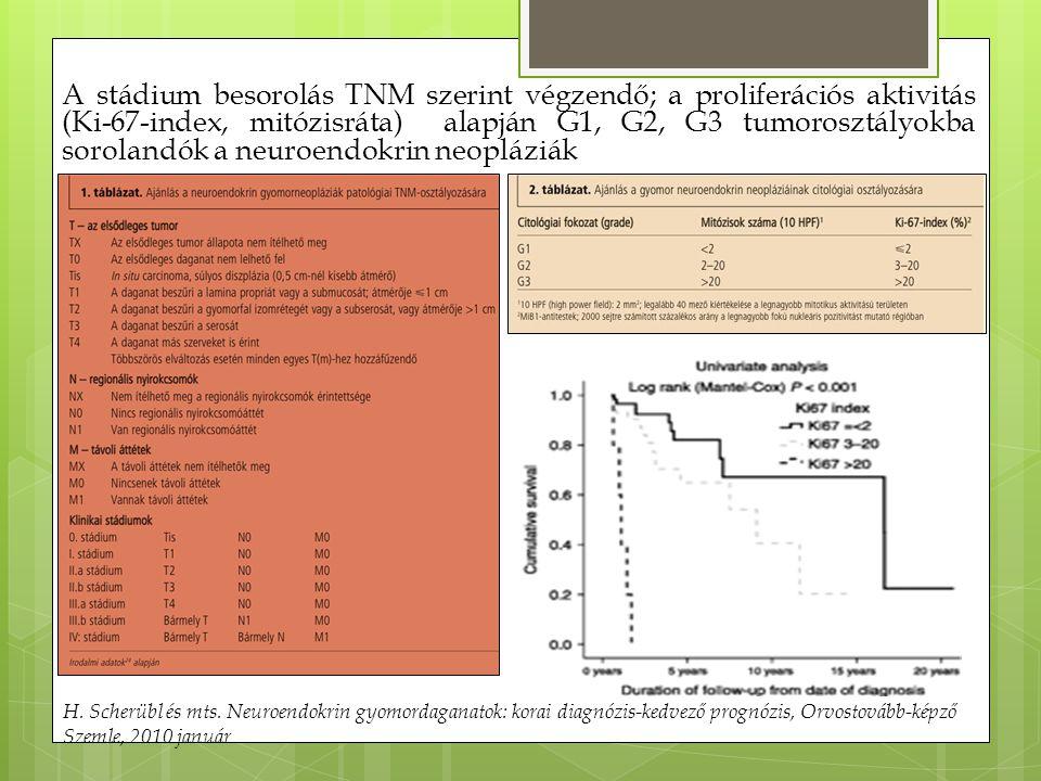 A stádium besorolás TNM szerint végzendő; a proliferációs aktivitás (Ki-67-index, mitózisráta) alapján G1, G2, G3 tumorosztályokba sorolandók a neuroe