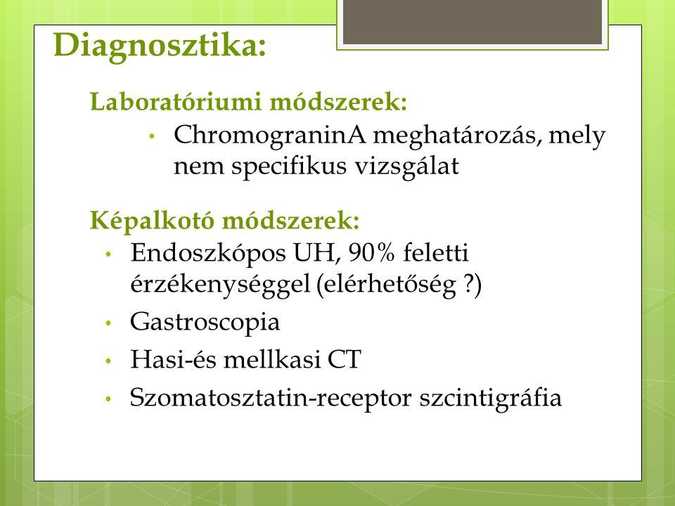 Diagnosztika: Endoszkópos UH, 90% feletti érzékenységgel (elérhetőség ?) Gastroscopia Hasi-és mellkasi CT Szomatosztatin-receptor szcintigráfia Képalk