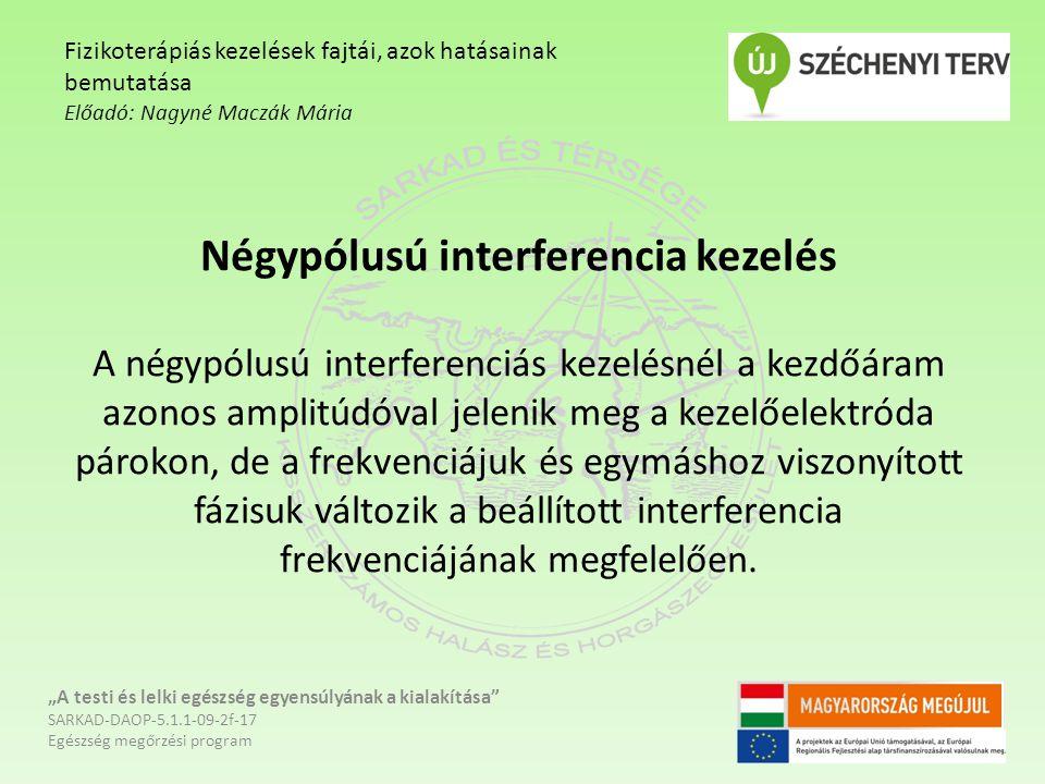 Négypólusú interferencia kezelés A négypólusú interferenciás kezelésnél a kezdőáram azonos amplitúdóval jelenik meg a kezelőelektróda párokon, de a fr