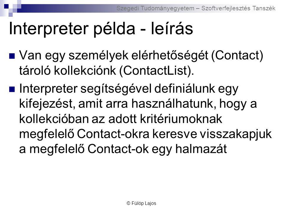 Szegedi Tudományegyetem – Szoftverfejlesztés Tanszék Interpreter példa - leírás Van egy személyek elérhetőségét (Contact) tároló kollekciónk (ContactList).