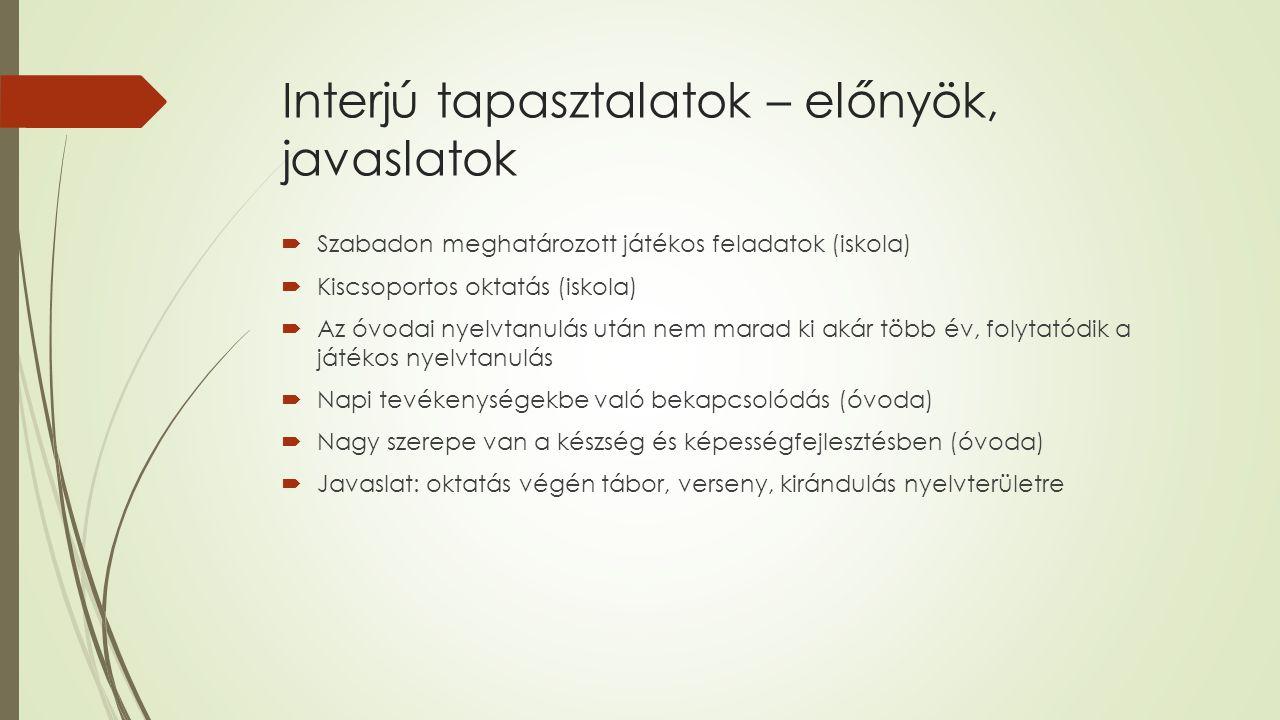 Interjú tapasztalatok – előnyök, javaslatok  Szabadon meghatározott játékos feladatok (iskola)  Kiscsoportos oktatás (iskola)  Az óvodai nyelvtanulás után nem marad ki akár több év, folytatódik a játékos nyelvtanulás  Napi tevékenységekbe való bekapcsolódás (óvoda)  Nagy szerepe van a készség és képességfejlesztésben (óvoda)  Javaslat: oktatás végén tábor, verseny, kirándulás nyelvterületre