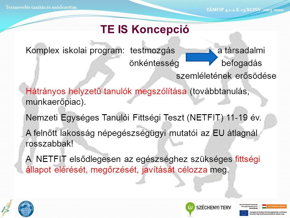 TE IS Koncepció Komplex iskolai program: testmozgás a társadalmi önkéntesség befogadás szemléletének erősödése Hátrányos helyzetű tanulók megszólítása (továbbtanulás, munkaerőpiac).
