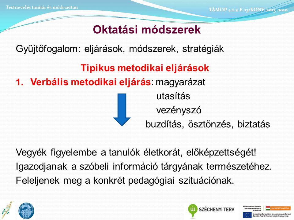 Oktatási módszerek Gyűjtőfogalom: eljárások, módszerek, stratégiák Tipikus metodikai eljárások 1.