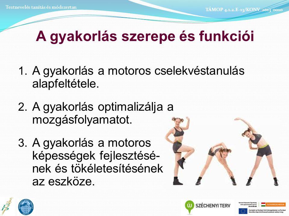 A gyakorlás szerepe és funkciói 1.A gyakorlás a motoros cselekvéstanulás alapfeltétele.