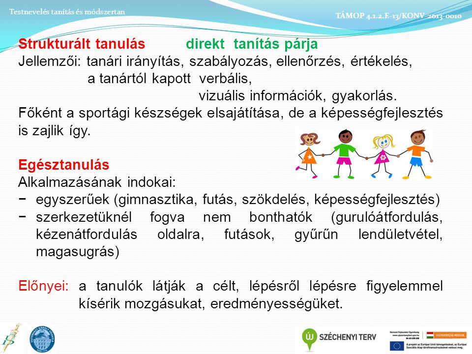 Strukturált tanulás direkt tanítás párja Jellemzői: tanári irányítás, szabályozás, ellenőrzés, értékelés, a tanártól kapott verbális, vizuális információk, gyakorlás.