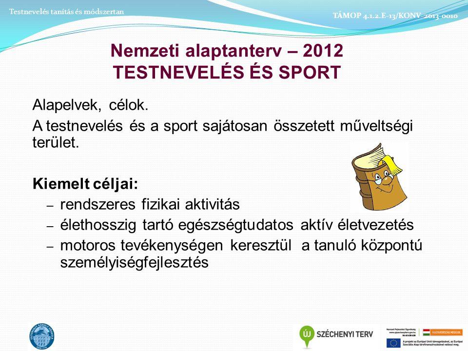 Nemzeti alaptanterv – 2012 TESTNEVELÉS ÉS SPORT Alapelvek, célok.
