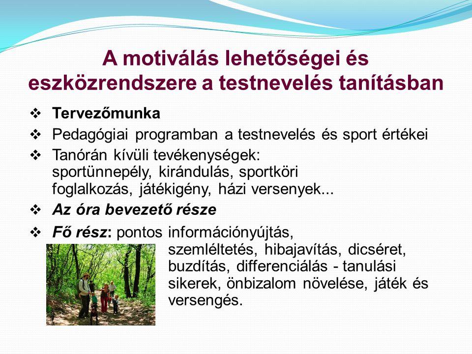A motiválás lehetőségei és eszközrendszere a testnevelés tanításban  Tervezőmunka  Pedagógiai programban a testnevelés és sport értékei  Tanórán kívüli tevékenységek: sportünnepély, kirándulás, sportköri foglalkozás, játékigény, házi versenyek...