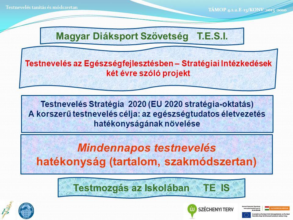 Testnevelés tanítás és módszertan TÁMOP 4.1.2.E-13/KONV-2013-0010 Testmozgás az Iskolában TE IS Magyar Diáksport Szövetség T.E.S.I.