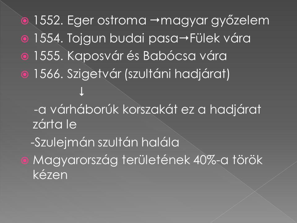  1552. Eger ostroma  magyar győzelem  1554. Tojgun budai pasa  Fülek vára  1555. Kaposvár és Babócsa vára  1566. Szigetvár (szultáni hadjárat) 