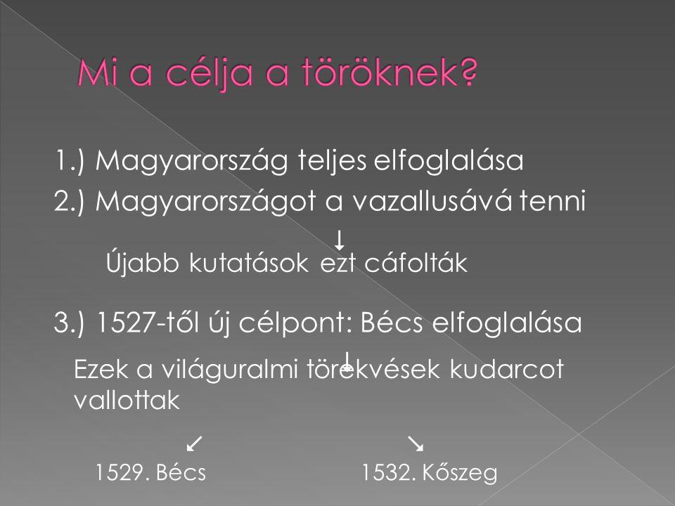 1.) Magyarország teljes elfoglalása 2.) Magyarországot a vazallusává tenni  3.) 1527-től új célpont: Bécs elfoglalása    Újabb kutatások ezt cáfol