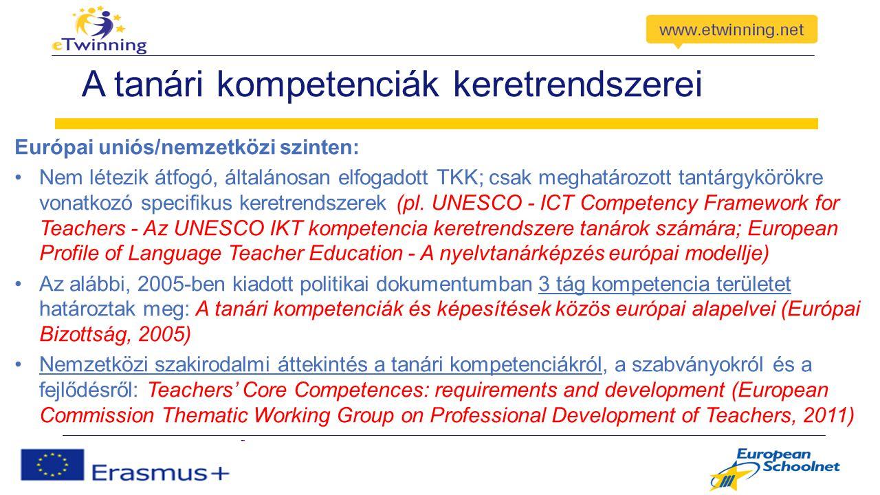 A tanári kompetenciák keretrendszerei Európai uniós/nemzetközi szinten: Nem létezik átfogó, általánosan elfogadott TKK; csak meghatározott tantárgykörökre vonatkozó specifikus keretrendszerek (pl.