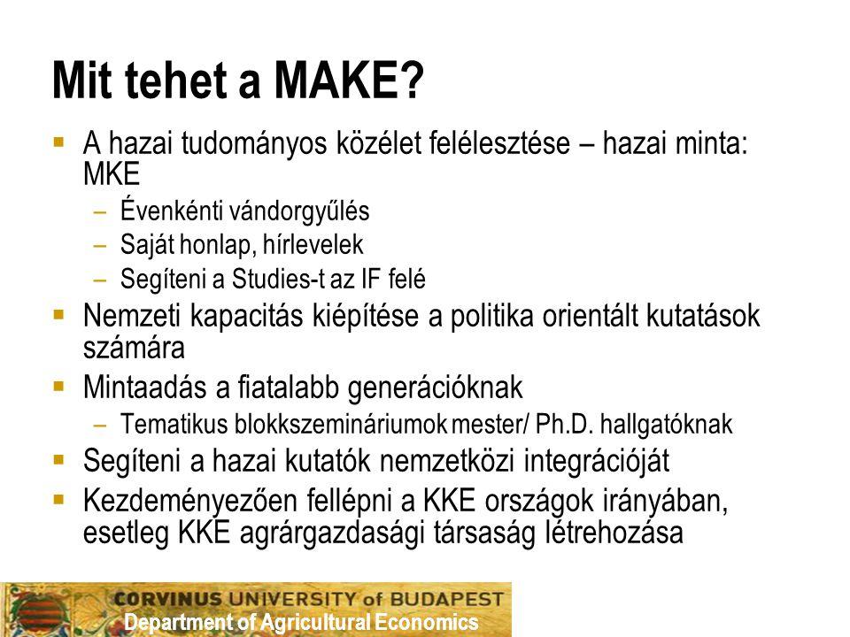 Department of Agricultural Economics Mit tehet a MAKE?  A hazai tudományos közélet felélesztése – hazai minta: MKE –Évenkénti vándorgyűlés –Saját hon