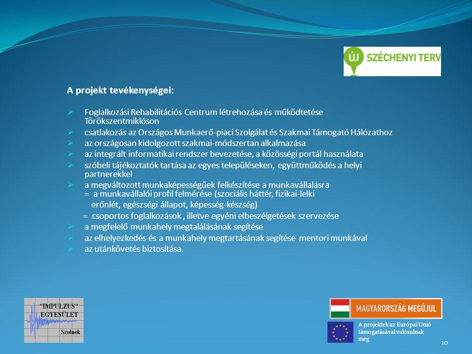 A projekt tevékenységei:  Foglalkozási Rehabilitációs Centrum létrehozása és működtetése Törökszentmiklóson  csatlakozás az Országos Munkaerő-piaci