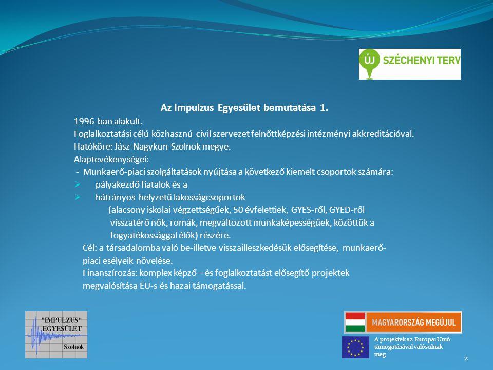 Az Impulzus Egyesület bemutatása 1. 1996-ban alakult. Foglalkoztatási célú közhasznú civil szervezet felnőttképzési intézményi akkreditációval. Hatókö