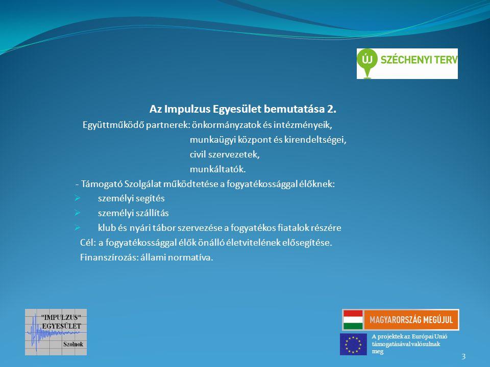 Az Impulzus Egyesület bemutatása 2. Együttműködő partnerek: önkormányzatok és intézményeik, munkaügyi központ és kirendeltségei, civil szervezetek, mu