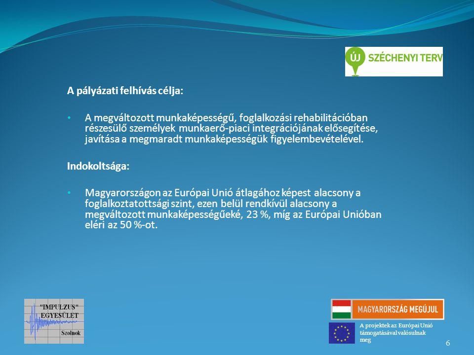 A pályázati felhívás célja: A megváltozott munkaképességű, foglalkozási rehabilitációban részesülő személyek munkaerő-piaci integrációjának elősegítés