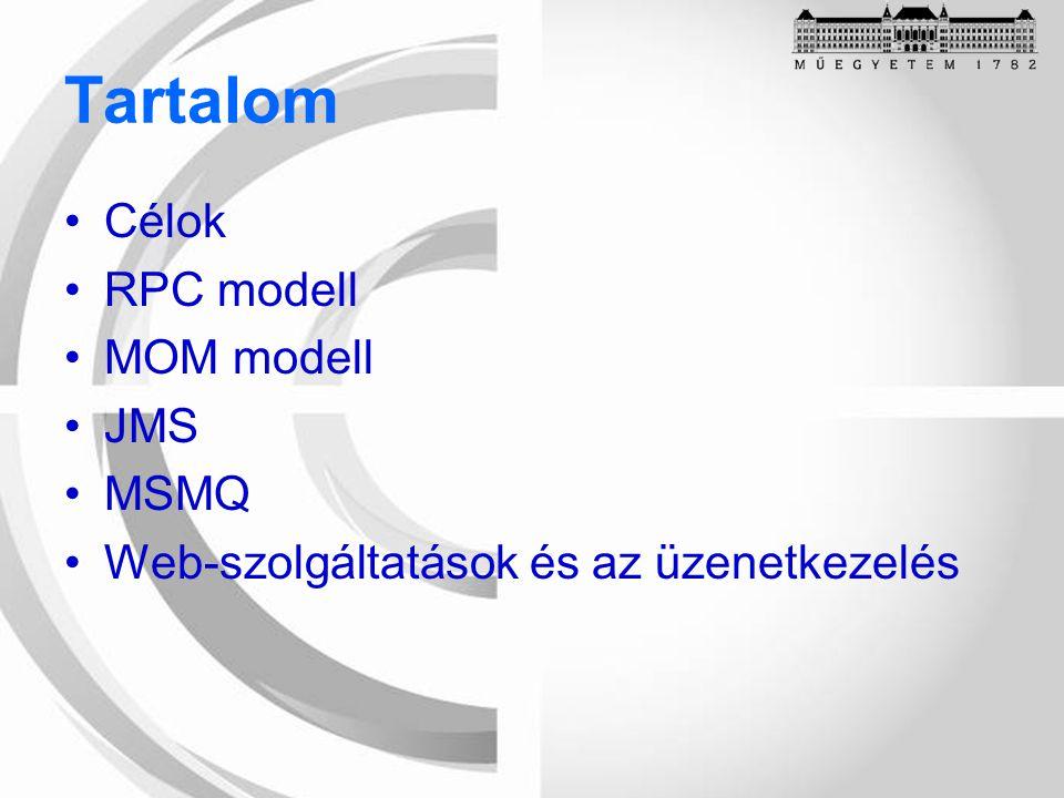 Tartalom Célok RPC modell MOM modell JMS MSMQ Web-szolgáltatások és az üzenetkezelés