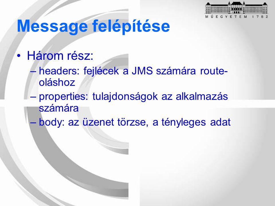 Message felépítése Három rész: –headers: fejlécek a JMS számára route- oláshoz –properties: tulajdonságok az alkalmazás számára –body: az üzenet törzse, a tényleges adat
