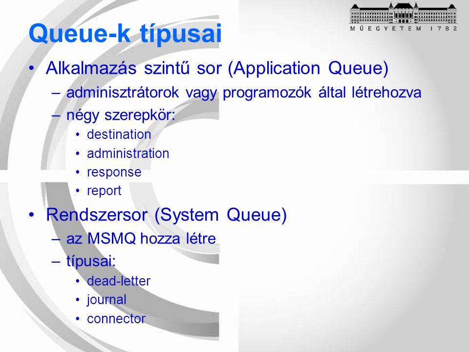 Queue-k típusai Alkalmazás szintű sor (Application Queue) –adminisztrátorok vagy programozók által létrehozva –négy szerepkör: destination administration response report Rendszersor (System Queue) –az MSMQ hozza létre –típusai: dead-letter journal connector