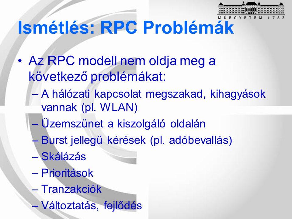 Ismétlés: RPC Problémák Az RPC modell nem oldja meg a következő problémákat: –A hálózati kapcsolat megszakad, kihagyások vannak (pl.