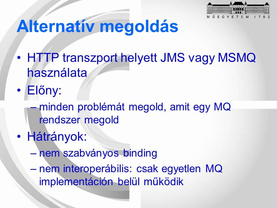 Alternatív megoldás HTTP transzport helyett JMS vagy MSMQ használata Előny: –minden problémát megold, amit egy MQ rendszer megold Hátrányok: –nem szabványos binding –nem interoperábilis: csak egyetlen MQ implementáción belül működik