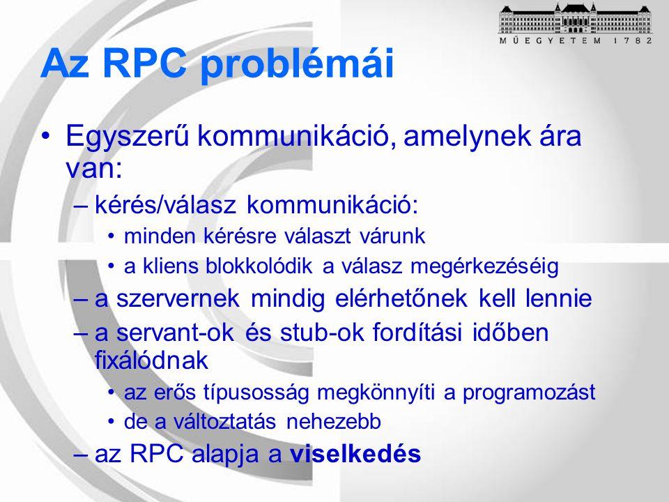 Az RPC problémái Egyszerű kommunikáció, amelynek ára van: –kérés/válasz kommunikáció: minden kérésre választ várunk a kliens blokkolódik a válasz megérkezéséig –a szervernek mindig elérhetőnek kell lennie –a servant-ok és stub-ok fordítási időben fixálódnak az erős típusosság megkönnyíti a programozást de a változtatás nehezebb –az RPC alapja a viselkedés