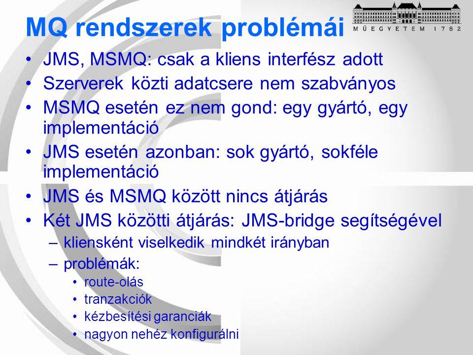 MQ rendszerek problémái JMS, MSMQ: csak a kliens interfész adott Szerverek közti adatcsere nem szabványos MSMQ esetén ez nem gond: egy gyártó, egy implementáció JMS esetén azonban: sok gyártó, sokféle implementáció JMS és MSMQ között nincs átjárás Két JMS közötti átjárás: JMS-bridge segítségével –kliensként viselkedik mindkét irányban –problémák: route-olás tranzakciók kézbesítési garanciák nagyon nehéz konfigurálni