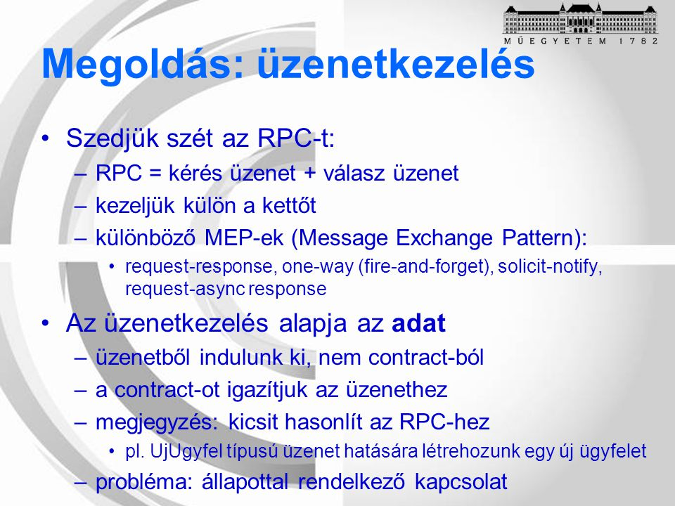 Programozási modell BaseType(Unified Domain) Point-to-Point Domain Publish/Subscribe Domain DestinationQueueTopic ConnectionFactoryQueueConnection- Factory TopicConnection- Factory ConnectionQueueConnectionTopicConnection SessionQueueSessionTopicSession MessageProducerQueueSenderTopicPublisher MessageConsumerQueueReceiverTopicSubscriber -QueueRequestorTopicRequestor
