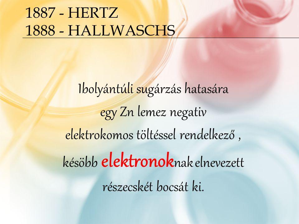 1887 - HERTZ 1888 - HALLWASCHS Ibolyántúli sugárzás hatasára egy Zn lemez negativ elektrokomos töltéssel rendelkező, késöbb elektronok nak elnevezett részecskét bocsát ki.