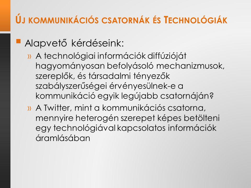 Ú J KOMMUNIKÁCIÓS CSATORNÁK ÉS T ECHNOLÓGIÁK  Alapvető kérdéseink: »A technológiai információk diffúzióját hagyományosan befolyásoló mechanizmusok, szereplők, és társadalmi tényezők szabályszerűségei érvényesülnek-e a kommunikáció egyik legújabb csatornáján.