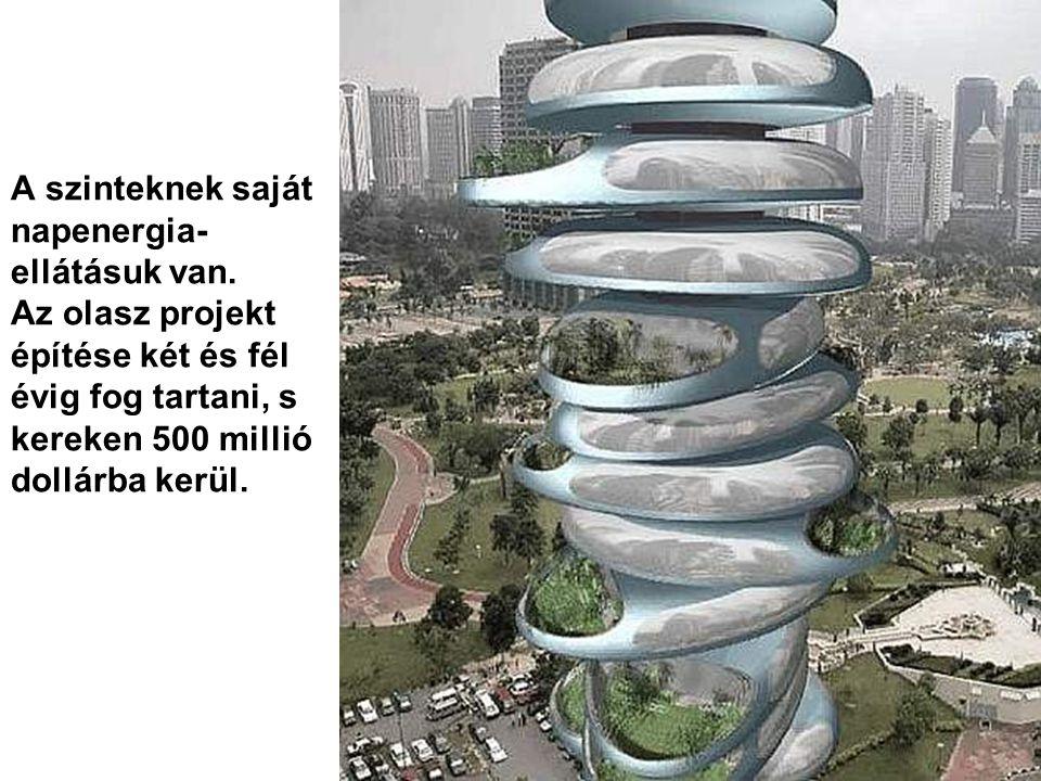 Ez a torony 250 méter magas és 59 szint forog körbe egy központi tengely körül.