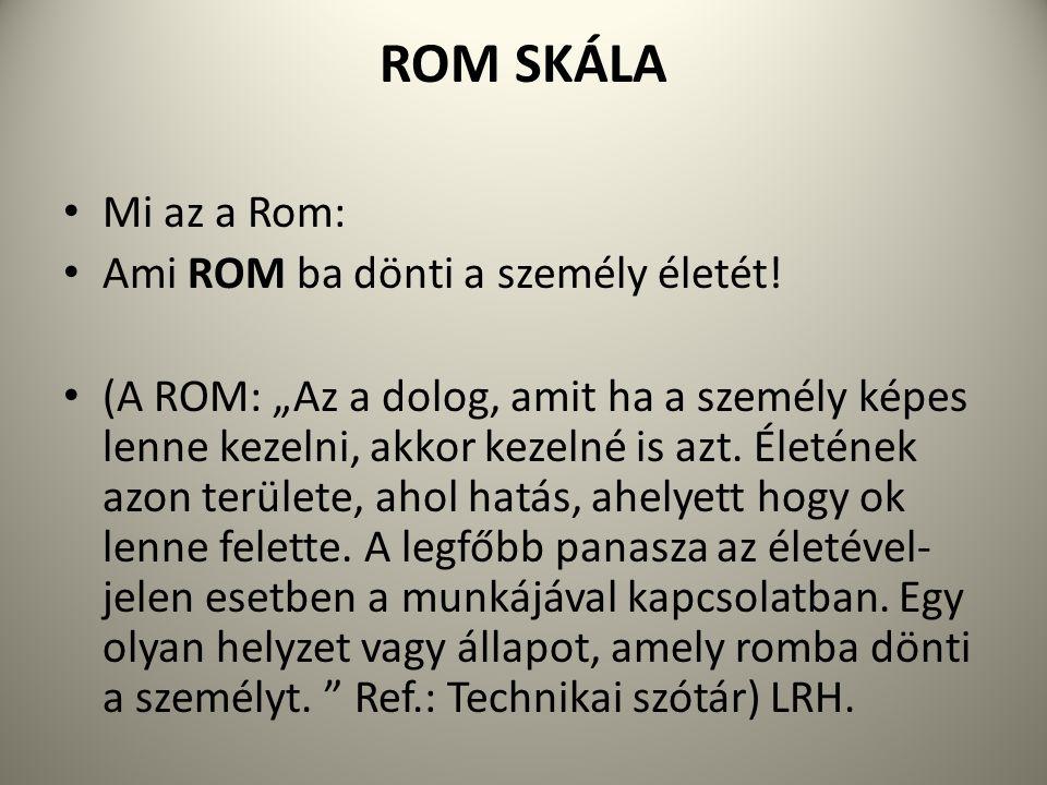"""ROM SKÁLA Mi az a Rom: Ami ROM ba dönti a személy életét! (A ROM: """"Az a dolog, amit ha a személy képes lenne kezelni, akkor kezelné is azt. Életének a"""