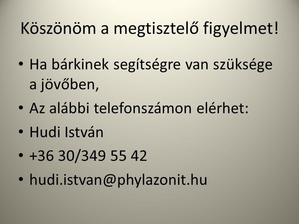 Köszönöm a megtisztelő figyelmet! Ha bárkinek segítségre van szüksége a jövőben, Az alábbi telefonszámon elérhet: Hudi István +36 30/349 55 42 hudi.is