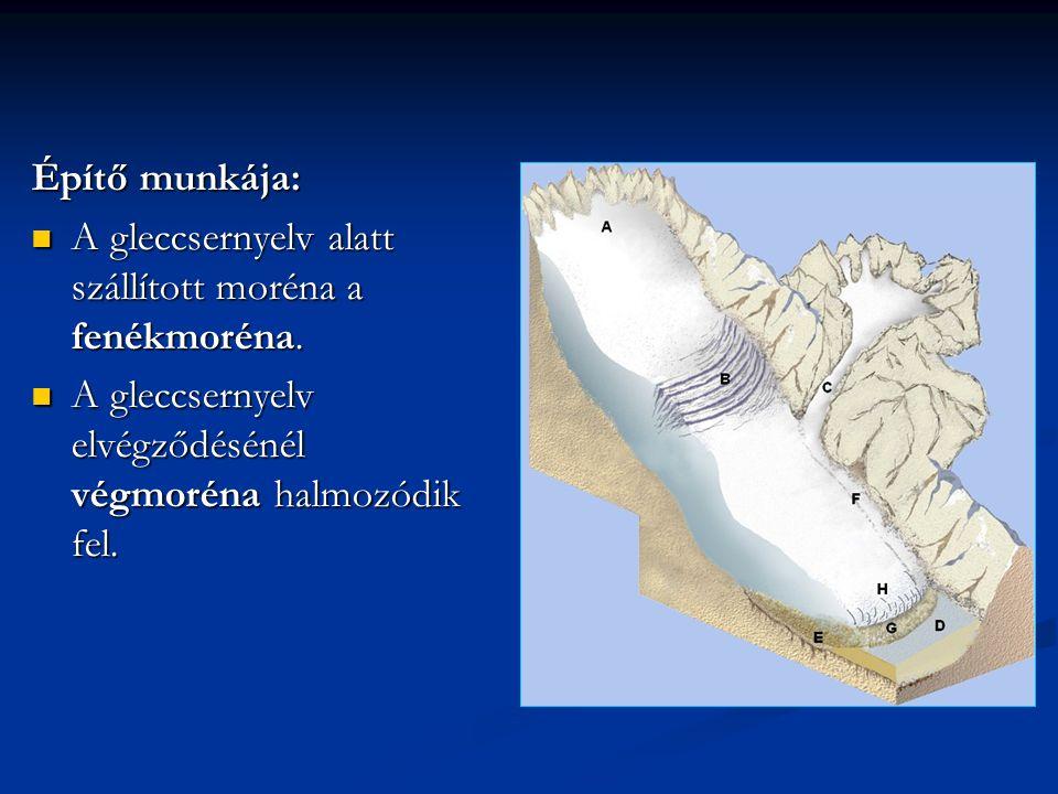 Építő munkája: A gleccsernyelv alatt szállított moréna a fenékmoréna. A gleccsernyelv alatt szállított moréna a fenékmoréna. A gleccsernyelv elvégződé