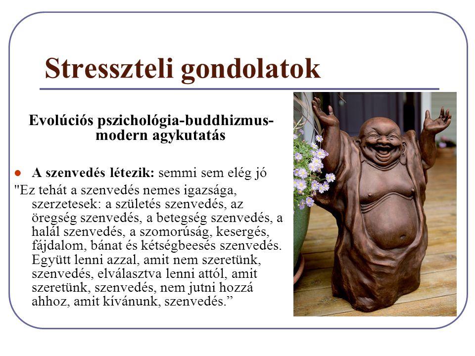 Stresszteli gondolatok Evolúciós pszichológia-buddhizmus- modern agykutatás A szenvedés létezik: semmi sem elég jó