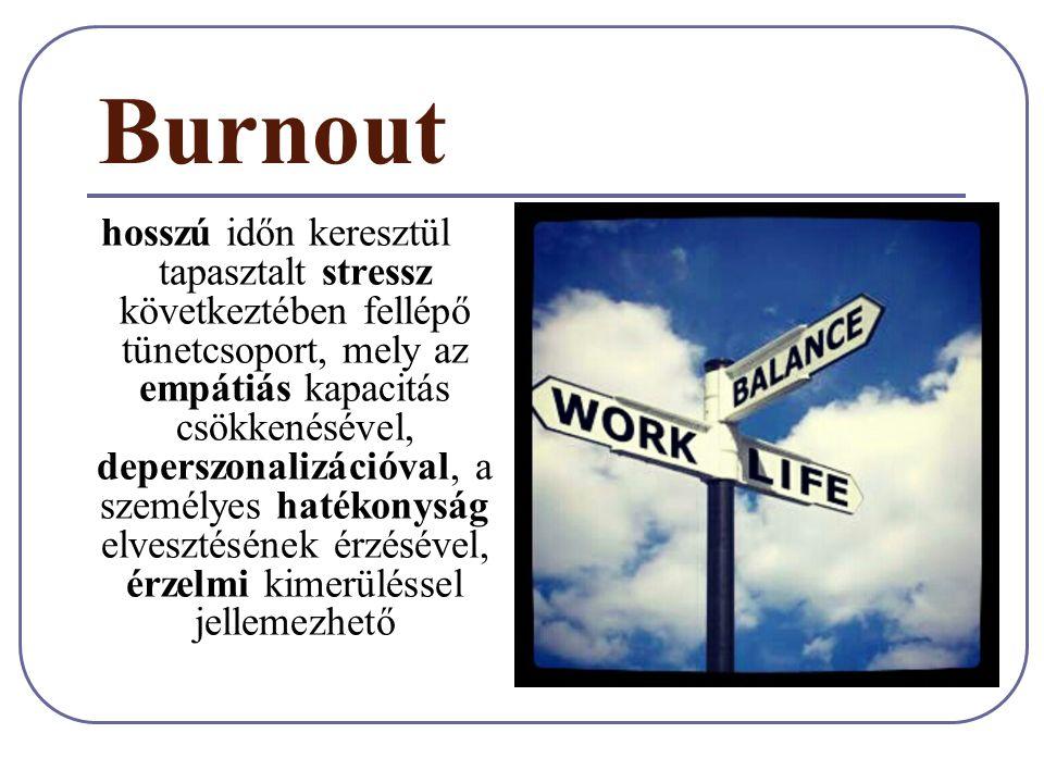 Burnout hosszú időn keresztül tapasztalt stressz következtében fellépő tünetcsoport, mely az empátiás kapacitás csökkenésével, deperszonalizációval, a