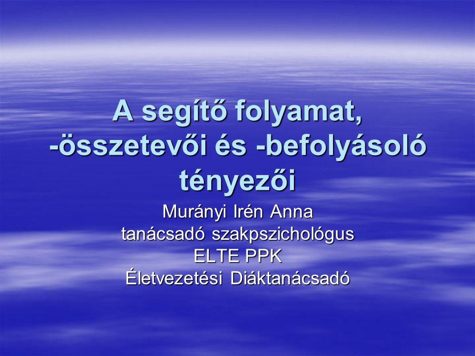A segítő folyamat, -összetevői és -befolyásoló tényezői Murányi Irén Anna tanácsadó szakpszichológus ELTE PPK Életvezetési Diáktanácsadó