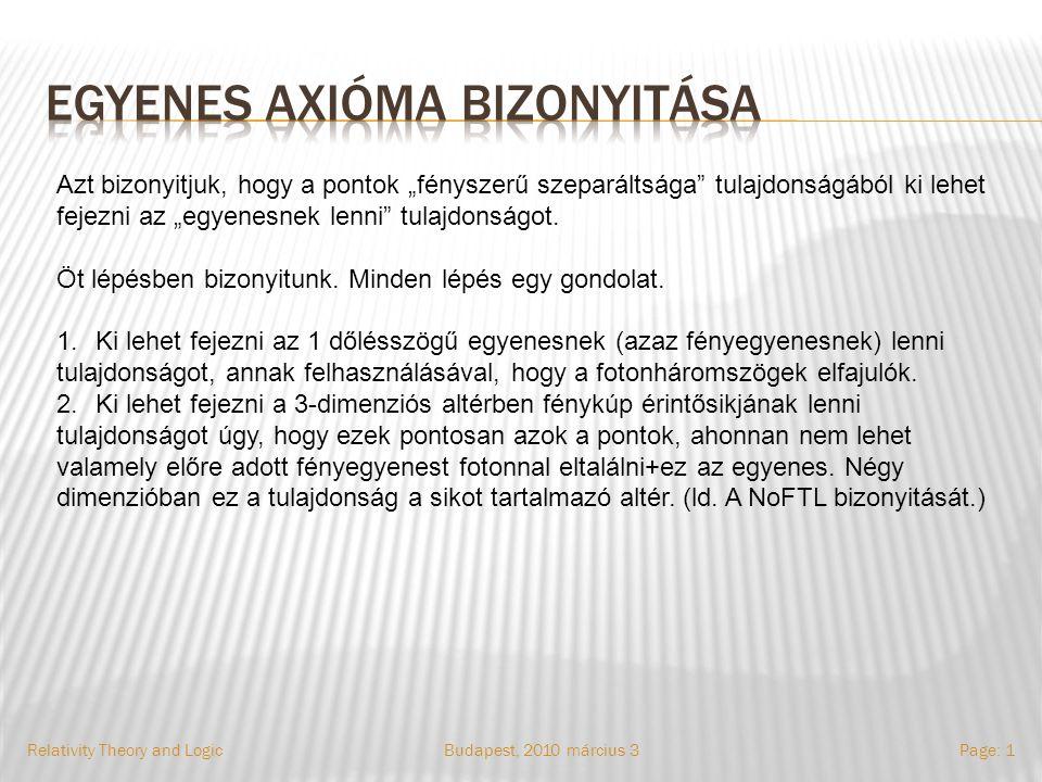 Budapest, 2010.március 3.Relativity Theory and LogicPage: 12 Számolás: Tfh.
