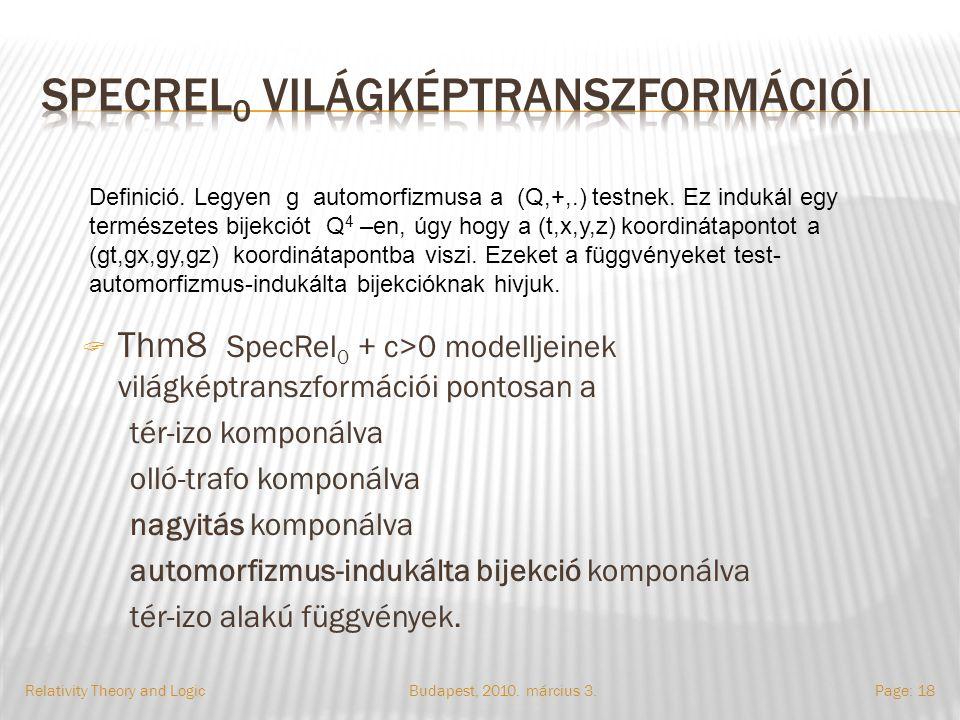 Budapest, 2010. március 3.Relativity Theory and LogicPage: 18  Thm8 SpecRel 0 + c>0 modelljeinek világképtranszformációi pontosan a tér-izo komponálv