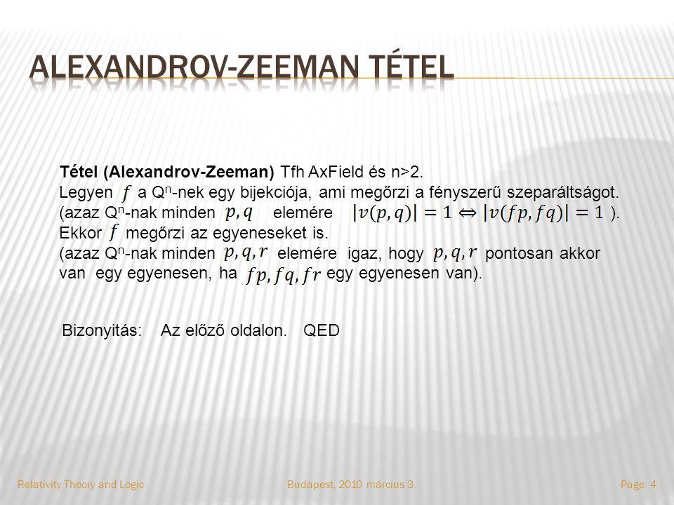 Relativity Theory and LogicPage: 4 Tétel (Alexandrov-Zeeman) Tfh AxField és n>2.