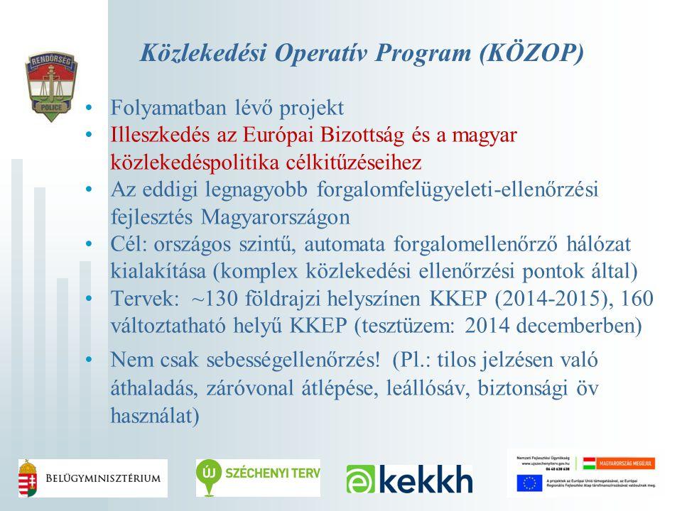 Közlekedési Operatív Program (KÖZOP) Folyamatban lévő projekt Illeszkedés az Európai Bizottság és a magyar közlekedéspolitika célkitűzéseihez Az eddig