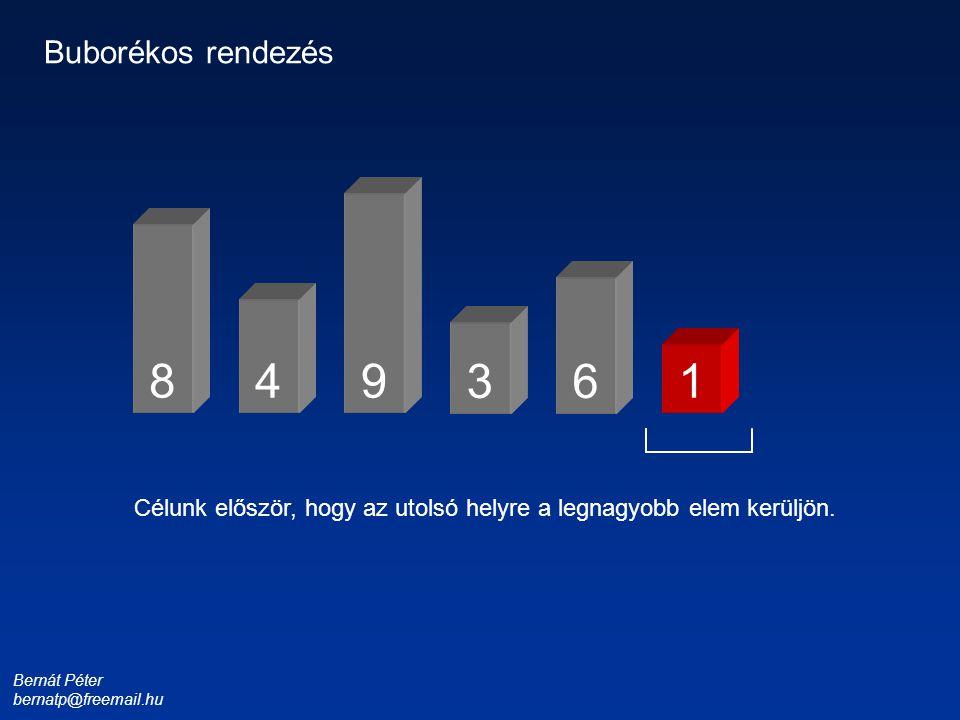 Bernát Péter bernatp@freemail.hu 1 3 4 6 8 9 Buborékos rendezés Célunk először, hogy az utolsó helyre a legnagyobb elem kerüljön.