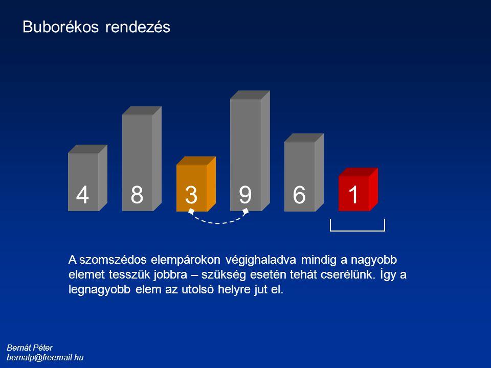 Bernát Péter bernatp@freemail.hu 1 3 4 6 8 9 Buborékos rendezés Az utolsó helyen csak a legkisebb – tehát az éppen odavaló – elem állhat.