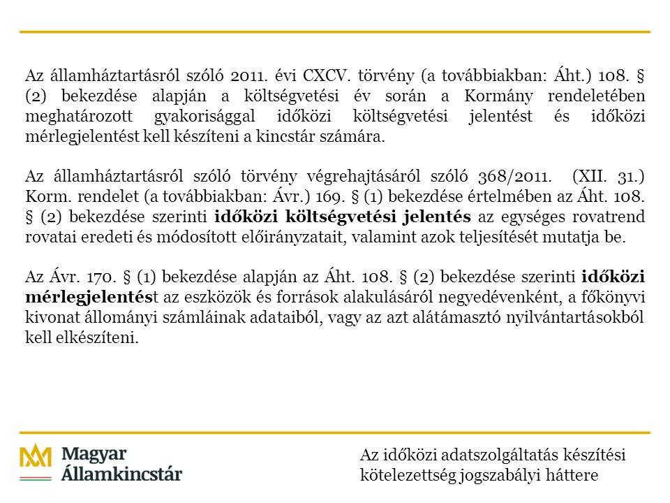 Az államháztartásról szóló 2011. évi CXCV. törvény (a továbbiakban: Áht.) 108. § (2) bekezdése alapján a költségvetési év során a Kormány rendeletében
