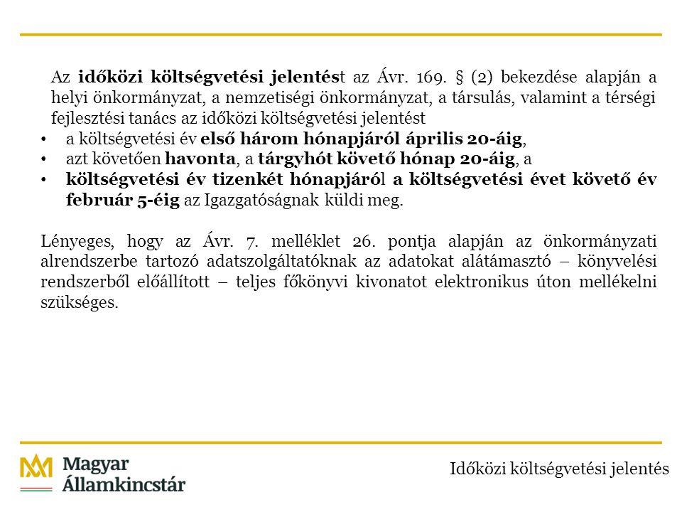 Az időközi költségvetési jelentést az Ávr. 169. § (2) bekezdése alapján a helyi önkormányzat, a nemzetiségi önkormányzat, a társulás, valamint a térsé