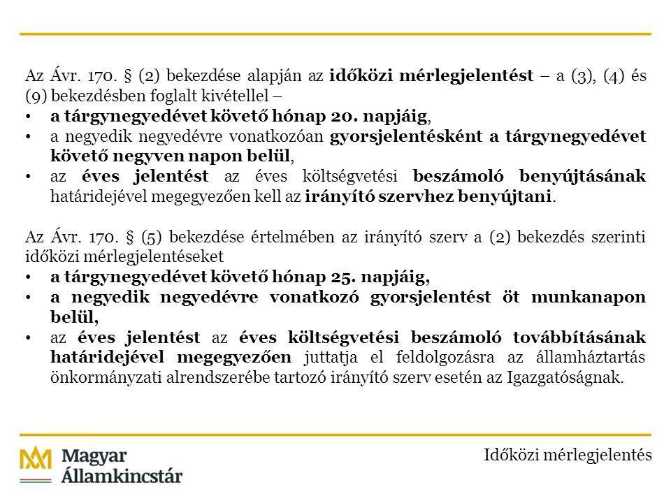 Az Ávr. 170. § (2) bekezdése alapján az időközi mérlegjelentést – a (3), (4) és (9) bekezdésben foglalt kivétellel – a tárgynegyedévet követő hónap 20